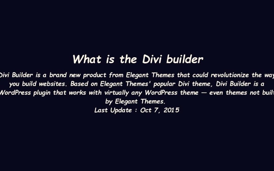 What is the Divi builder