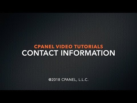 cPanel Tutorials: Contact Information